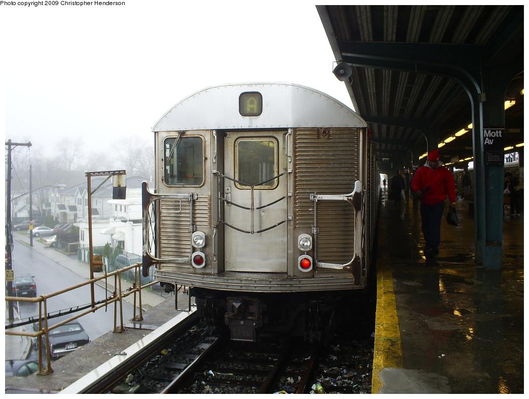 (242k, 1044x788)<br><b>Country:</b> United States<br><b>City:</b> New York<br><b>System:</b> New York City Transit<br><b>Line:</b> IND Rockaway<br><b>Location:</b> Mott Avenue/Far Rockaway <br><b>Route:</b> A<br><b>Car:</b> R-32 (Budd, 1964)  3708 <br><b>Photo by:</b> Christopher Henderson<br><b>Date:</b> 4/3/2009<br><b>Viewed (this week/total):</b> 2 / 1078