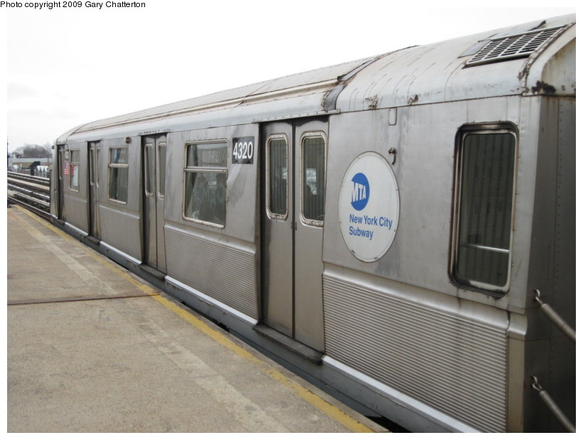 (114k, 820x620)<br><b>Country:</b> United States<br><b>City:</b> New York<br><b>System:</b> New York City Transit<br><b>Line:</b> IND Fulton Street Line<br><b>Location:</b> 104th Street/Oxford Ave. <br><b>Route:</b> A<br><b>Car:</b> R-40 (St. Louis, 1968)  4320 <br><b>Photo by:</b> Gary Chatterton<br><b>Date:</b> 4/1/2009<br><b>Viewed (this week/total):</b> 0 / 1003