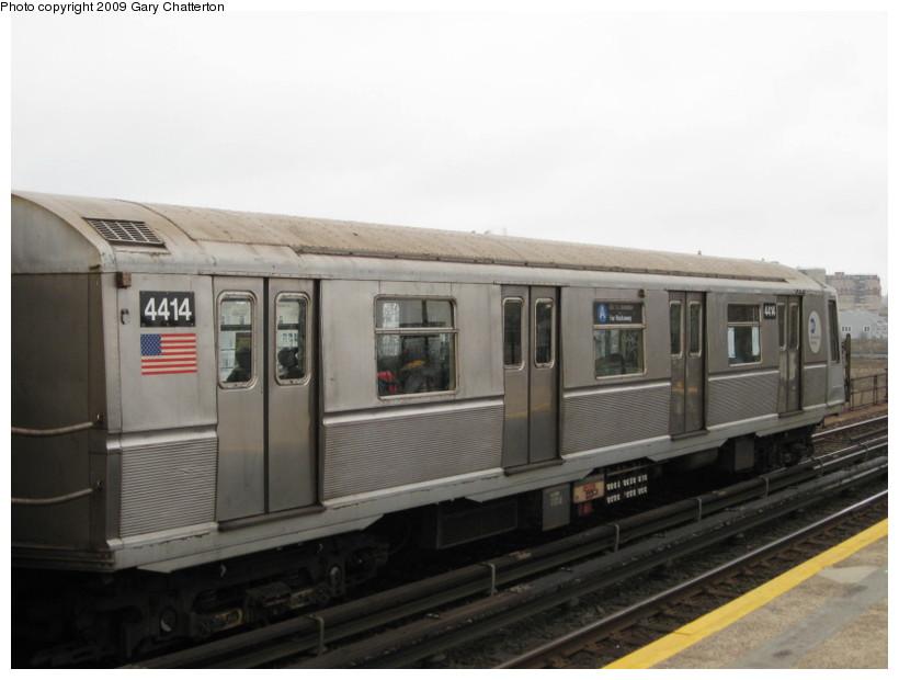 (93k, 820x620)<br><b>Country:</b> United States<br><b>City:</b> New York<br><b>System:</b> New York City Transit<br><b>Line:</b> IND Rockaway<br><b>Location:</b> Beach 67th Street/Gaston Avenue <br><b>Route:</b> A<br><b>Car:</b> R-40 (St. Louis, 1968)  4414 <br><b>Photo by:</b> Gary Chatterton<br><b>Date:</b> 4/1/2009<br><b>Viewed (this week/total):</b> 3 / 999
