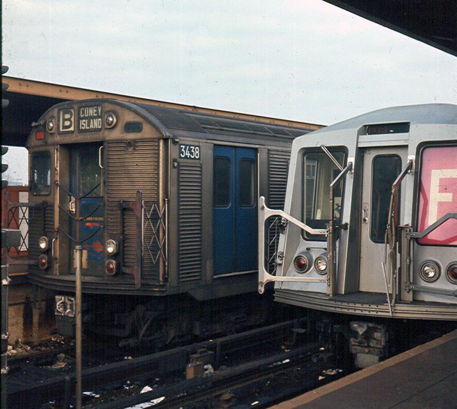(263k, 890x797)<br><b>Country:</b> United States<br><b>City:</b> New York<br><b>System:</b> New York City Transit<br><b>Location:</b> Coney Island/Stillwell Avenue<br><b>Route:</b> B<br><b>Car:</b> R-32 (Budd, 1964)  3438 <br><b>Photo by:</b> Brian J. Cudahy<br><b>Notes:</b> Approx 1970<br><b>Viewed (this week/total):</b> 6 / 1865