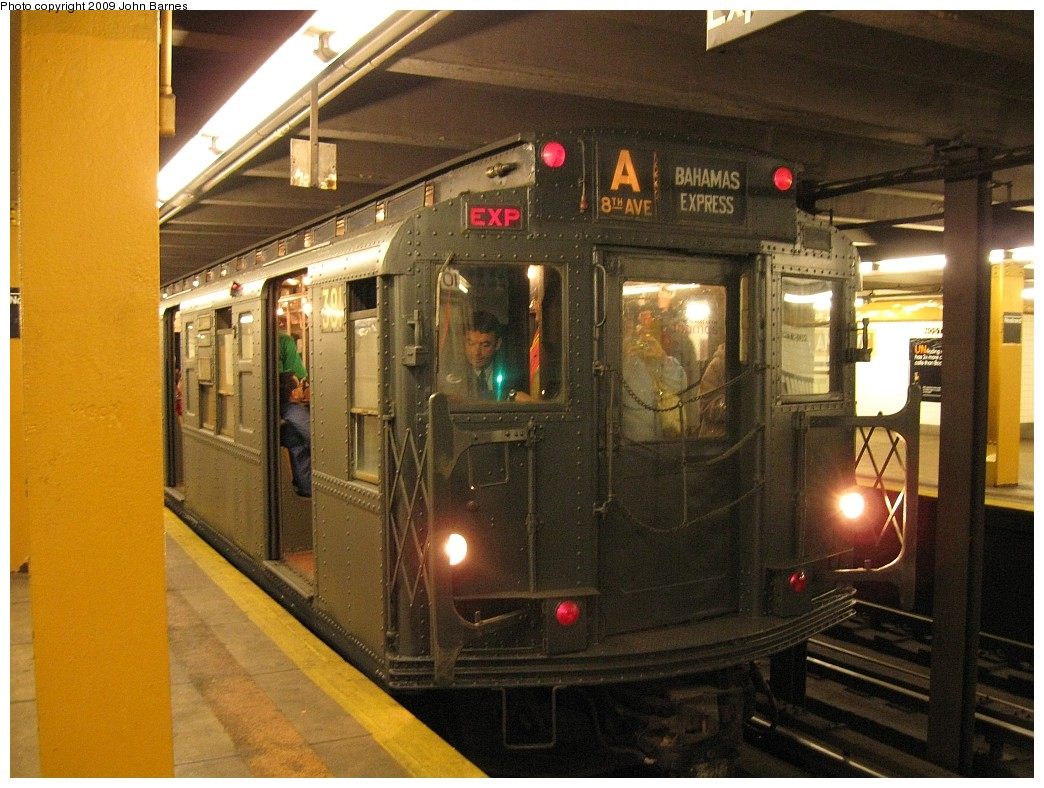 (228k, 1044x788)<br><b>Country:</b> United States<br><b>City:</b> New York<br><b>System:</b> New York City Transit<br><b>Line:</b> IND Fulton Street Line<br><b>Location:</b> Nostrand Avenue <br><b>Route:</b> Museum Train Service (A)<br><b>Car:</b> R-1 (American Car & Foundry, 1930-1931) 381 <br><b>Photo by:</b> John Barnes<br><b>Date:</b> 4/29/2009<br><b>Notes:</b> Duke Ellington Day promotion by Jet Blue & the Bahamas.<br><b>Viewed (this week/total):</b> 2 / 1459