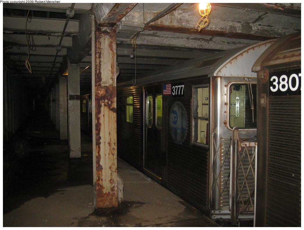(221k, 1044x788)<br><b>Country:</b> United States<br><b>City:</b> New York<br><b>System:</b> New York City Transit<br><b>Line:</b> IND Crosstown Line<br><b>Location:</b> Bergen Street-Lower Level<br><b>Route:</b> A<br><b>Car:</b> R-32 (Budd, 1964)  3777 <br><b>Photo by:</b> Robert Mencher<br><b>Date:</b> 4/4/2009<br><b>Notes:</b> Short turn A turnback due to G.O.<br><b>Viewed (this week/total):</b> 0 / 2006