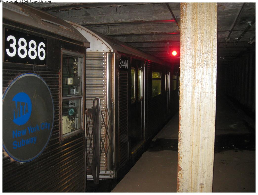 (224k, 1044x788)<br><b>Country:</b> United States<br><b>City:</b> New York<br><b>System:</b> New York City Transit<br><b>Line:</b> IND Crosstown Line<br><b>Location:</b> Bergen Street-Lower Level<br><b>Route:</b> A<br><b>Car:</b> R-32 (Budd, 1964)  3444 <br><b>Photo by:</b> Robert Mencher<br><b>Date:</b> 4/4/2009<br><b>Notes:</b> Short turn A turnback due to G.O.<br><b>Viewed (this week/total):</b> 1 / 2188