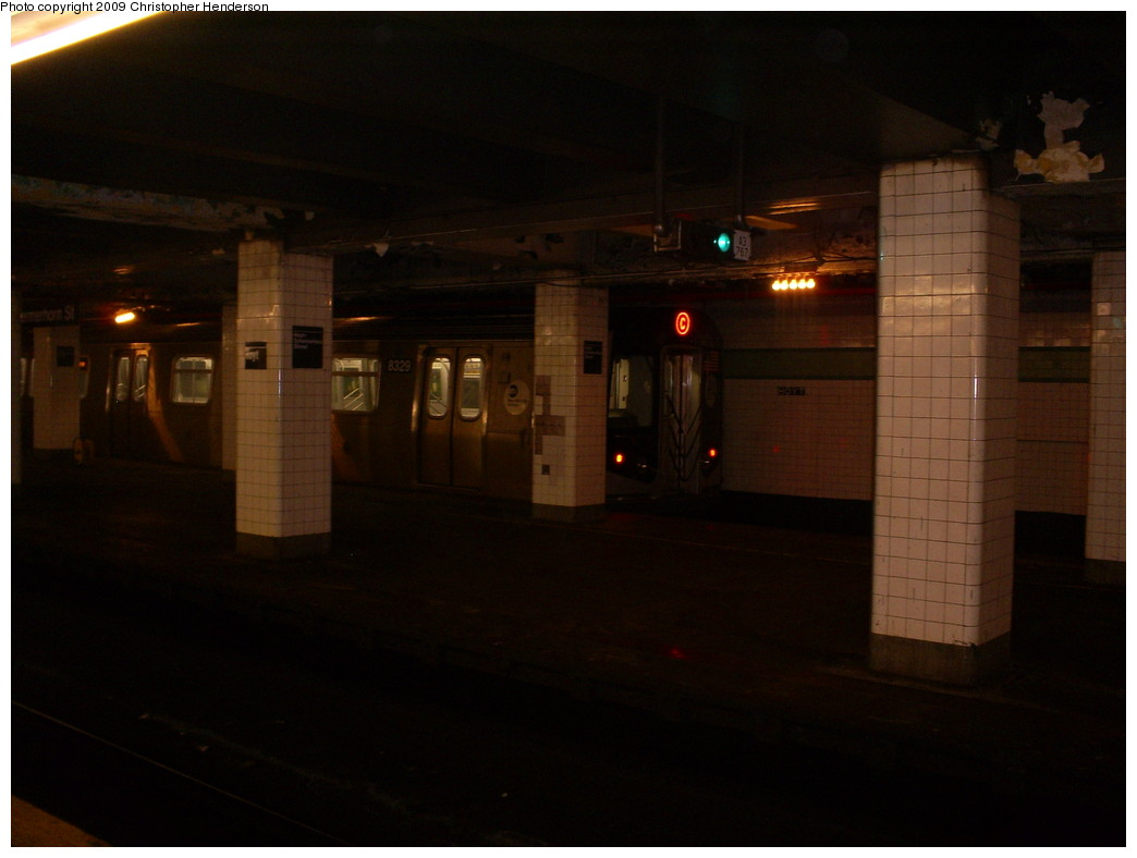 (171k, 1044x788)<br><b>Country:</b> United States<br><b>City:</b> New York<br><b>System:</b> New York City Transit<br><b>Line:</b> IND Fulton Street Line<br><b>Location:</b> Hoyt-Schermerhorn Street <br><b>Car:</b> R-160A-1 (Alstom, 2005-2008, 4 car sets)  8329 <br><b>Photo by:</b> Christopher Henderson<br><b>Date:</b> 4/6/2009<br><b>Notes:</b> R160A four car set being used for filming.<br><b>Viewed (this week/total):</b> 3 / 3918