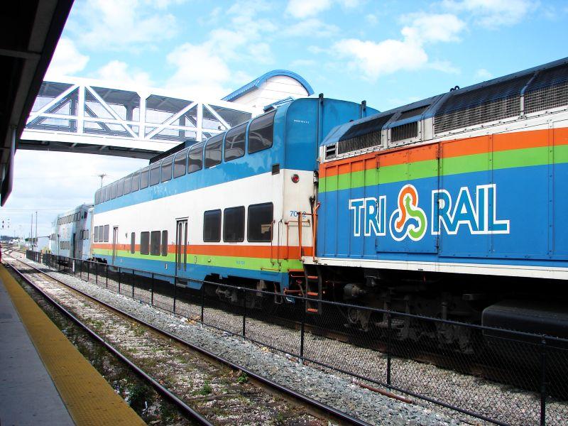 (109k, 800x600)<br><b>Country:</b> United States<br><b>City:</b> Miami, FL<br><b>System:</b> Miami Tri-Rail<br><b>Location:</b> Metrorail Transfer (Metrorail, Amtrak) <br><b>Photo by:</b> Bob Vogel<br><b>Date:</b> 3/6/2009<br><b>Notes:</b> Colorado Railcar TRCX 7002<br><b>Viewed (this week/total):</b> 1 / 1072