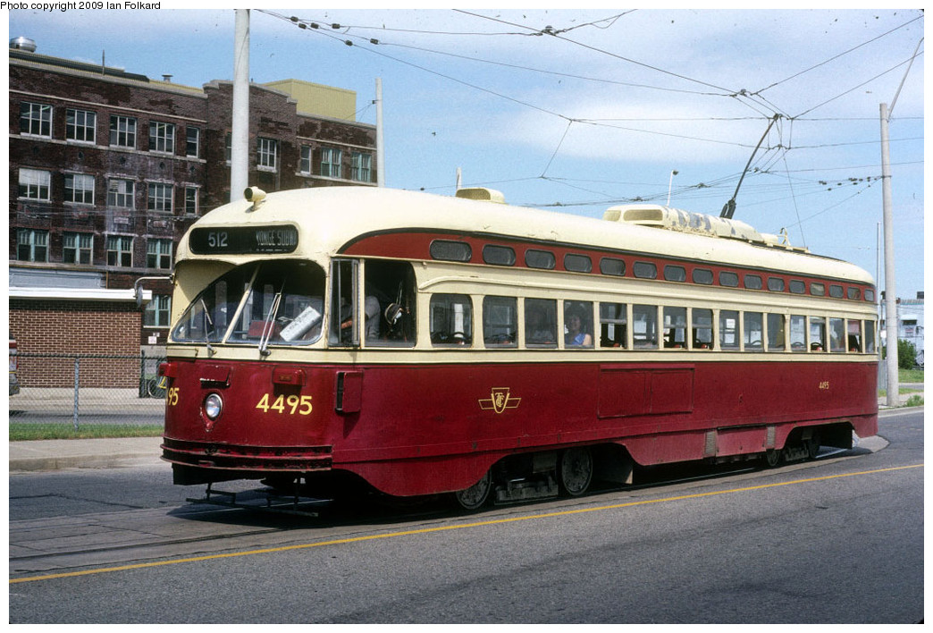 (266k, 1044x708)<br><b>Country:</b> Canada<br><b>City:</b> Toronto<br><b>System:</b> TTC<br><b>Line:</b> TTC 512-St. Clair<br><b>Location:</b> St. Clair/Old Stock Yards/Gunns/Gunns Loop <br><b>Car:</b> PCC (TTC Toronto) 4495 <br><b>Photo by:</b> Ian Folkard<br><b>Date:</b> 7/8/1989<br><b>Viewed (this week/total):</b> 1 / 705