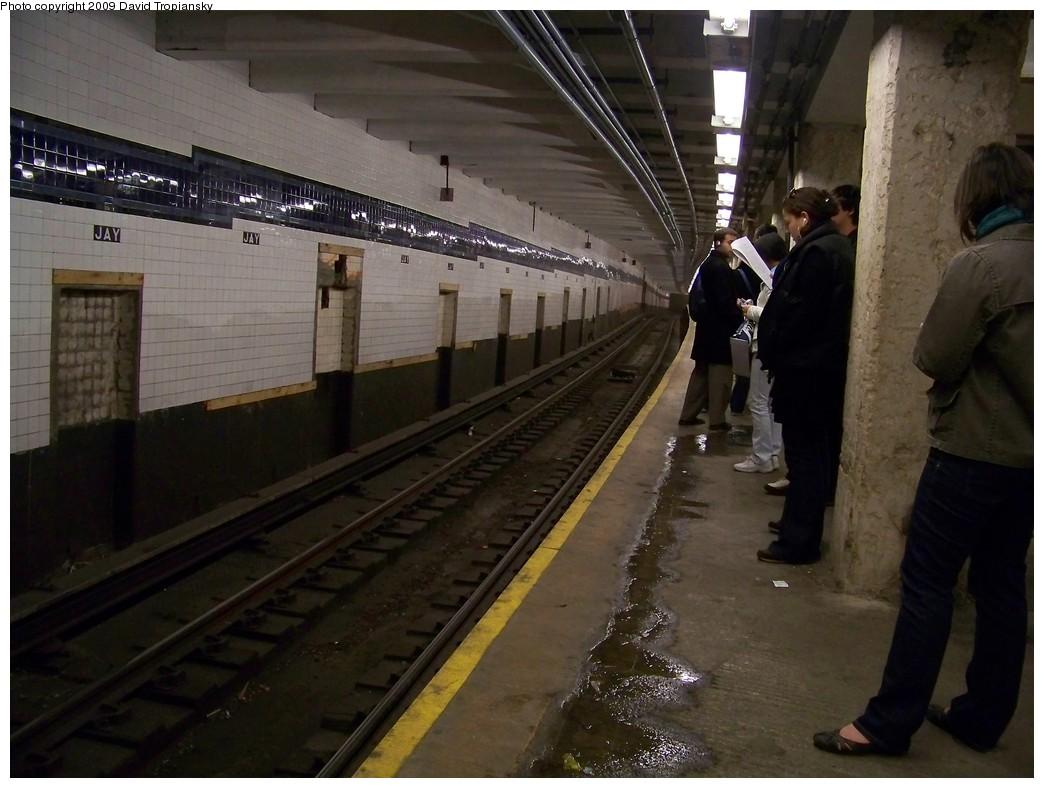 (203k, 1044x788)<br><b>Country:</b> United States<br><b>City:</b> New York<br><b>System:</b> New York City Transit<br><b>Line:</b> IND 8th Avenue Line<br><b>Location:</b> Jay St./Metrotech (Borough Hall) <br><b>Photo by:</b> David Tropiansky<br><b>Date:</b> 4/9/2009<br><b>Notes:</b> Renovations at Jay St., Coney Island Bound (F) track.<br><b>Viewed (this week/total):</b> 1 / 1694