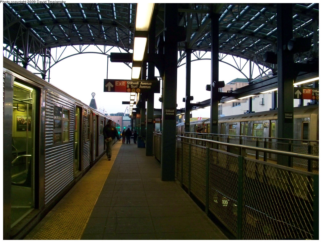 (333k, 1044x788)<br><b>Country:</b> United States<br><b>City:</b> New York<br><b>System:</b> New York City Transit<br><b>Location:</b> Coney Island/Stillwell Avenue<br><b>Route:</b> F<br><b>Car:</b> R-32 (Budd, 1964)   <br><b>Photo by:</b> David Tropiansky<br><b>Date:</b> 4/9/2009<br><b>Viewed (this week/total):</b> 3 / 1696