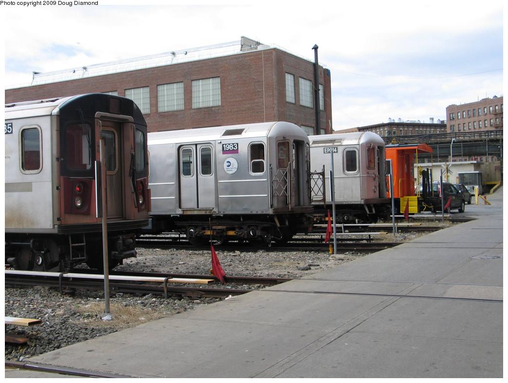 (228k, 1044x788)<br><b>Country:</b> United States<br><b>City:</b> New York<br><b>System:</b> New York City Transit<br><b>Location:</b> 207th Street Yard<br><b>Photo by:</b> Doug Diamond<br><b>Date:</b> 4/7/2009<br><b>Notes:</b> R142, R62 1983, R134 EP014, and LIRR Caboose 60<br><b>Viewed (this week/total):</b> 0 / 702