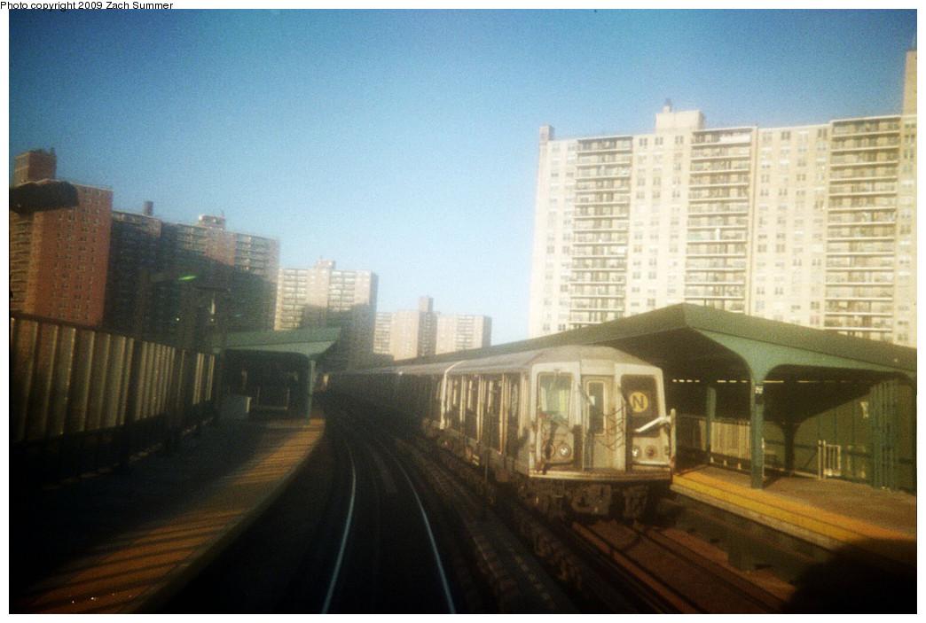 (214k, 1044x703)<br><b>Country:</b> United States<br><b>City:</b> New York<br><b>System:</b> New York City Transit<br><b>Line:</b> BMT Brighton Line<br><b>Location:</b> West 8th Street <br><b>Route:</b> N reroute<br><b>Car:</b> R-40 (St. Louis, 1968)   <br><b>Photo by:</b> Zach Summer<br><b>Date:</b> 5/2006<br><b>Notes:</b> N extended via Brighton, Stillwell to Kings Highway<br><b>Viewed (this week/total):</b> 2 / 1309