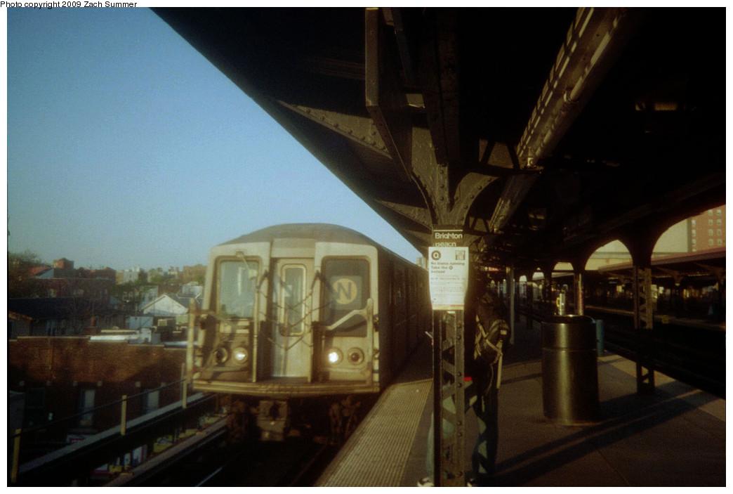 (178k, 1044x703)<br><b>Country:</b> United States<br><b>City:</b> New York<br><b>System:</b> New York City Transit<br><b>Line:</b> BMT Brighton Line<br><b>Location:</b> Brighton Beach <br><b>Route:</b> N reroute<br><b>Car:</b> R-40 (St. Louis, 1968)   <br><b>Photo by:</b> Zach Summer<br><b>Date:</b> 5/2006<br><b>Notes:</b> N extended via Brighton, Stillwell to Kings Highway<br><b>Viewed (this week/total):</b> 0 / 1062