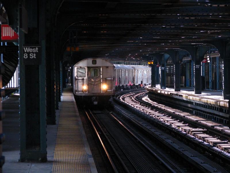 (136k, 800x600)<br><b>Country:</b> United States<br><b>City:</b> New York<br><b>System:</b> New York City Transit<br><b>Line:</b> BMT Culver Line<br><b>Location:</b> West 8th Street <br><b>Route:</b> F<br><b>Car:</b> R-32 (Budd, 1964)  3756 <br><b>Photo by:</b> Bill E.<br><b>Date:</b> 4/9/2009<br><b>Viewed (this week/total):</b> 0 / 1960