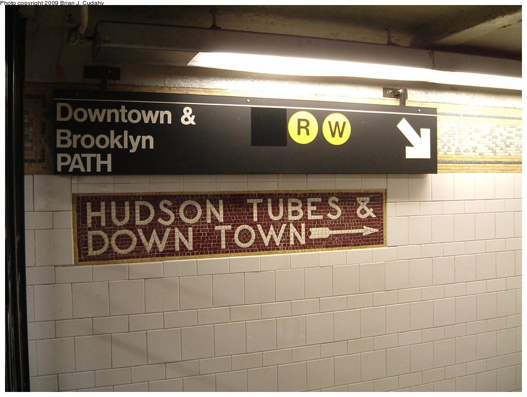 (202k, 1044x788)<br><b>Country:</b> United States<br><b>City:</b> New York<br><b>System:</b> New York City Transit<br><b>Line:</b> BMT Broadway Line<br><b>Location:</b> Cortlandt Street-World Trade Center <br><b>Photo by:</b> Brian J. Cudahy<br><b>Date:</b> 7/24/2004<br><b>Notes:</b> Hudson Tubes sign.<br><b>Viewed (this week/total):</b> 1 / 1546