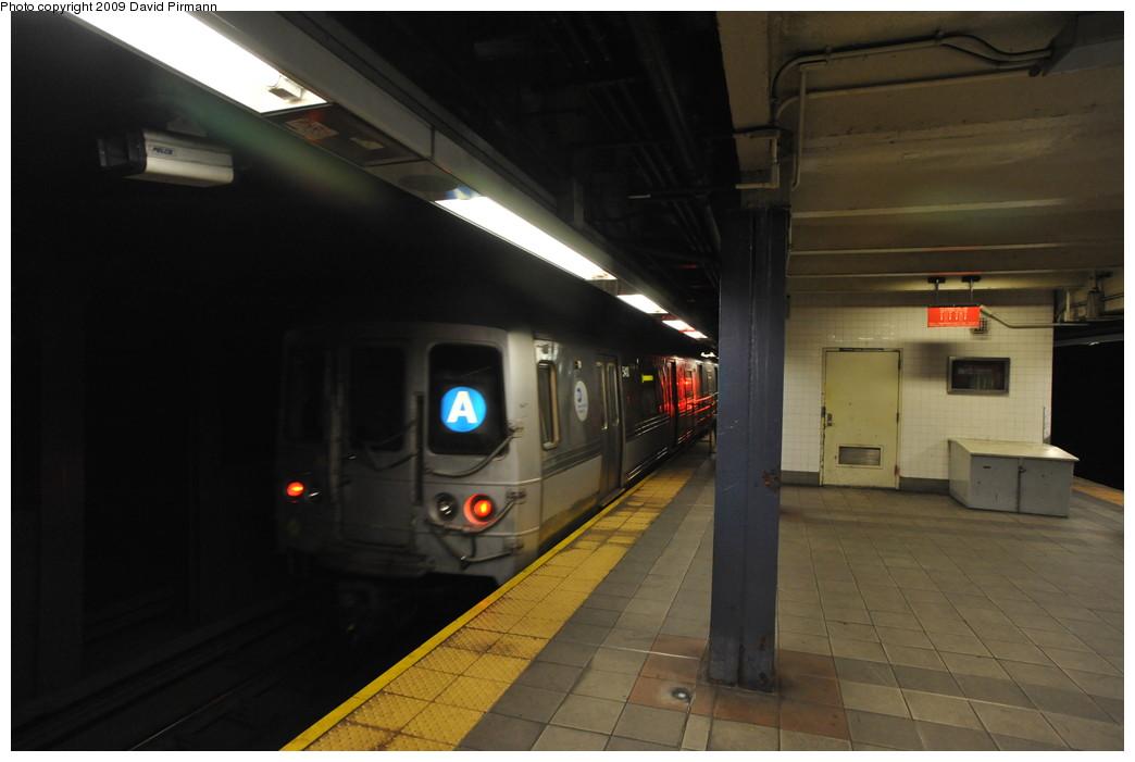 (187k, 1044x701)<br><b>Country:</b> United States<br><b>City:</b> New York<br><b>System:</b> New York City Transit<br><b>Line:</b> IND 8th Avenue Line<br><b>Location:</b> 42nd Street/Port Authority Bus Terminal <br><b>Route:</b> A<br><b>Car:</b> R-44 (St. Louis, 1971-73) 5410 <br><b>Photo by:</b> David Pirmann<br><b>Date:</b> 4/10/2009<br><b>Viewed (this week/total):</b> 0 / 1786