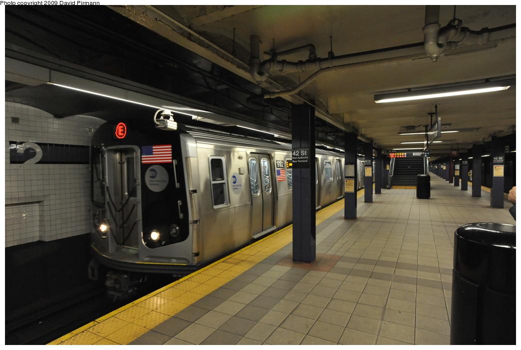 (228k, 1044x701)<br><b>Country:</b> United States<br><b>City:</b> New York<br><b>System:</b> New York City Transit<br><b>Line:</b> IND 8th Avenue Line<br><b>Location:</b> 42nd Street/Port Authority Bus Terminal <br><b>Route:</b> E<br><b>Car:</b> R-160B (Option 1) (Kawasaki, 2008-2009)  9182 <br><b>Photo by:</b> David Pirmann<br><b>Date:</b> 4/10/2009<br><b>Viewed (this week/total):</b> 1 / 1940