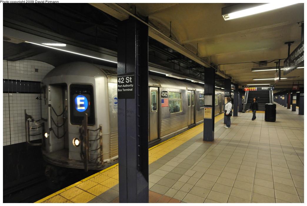 (228k, 1044x701)<br><b>Country:</b> United States<br><b>City:</b> New York<br><b>System:</b> New York City Transit<br><b>Line:</b> IND 8th Avenue Line<br><b>Location:</b> 42nd Street/Port Authority Bus Terminal <br><b>Route:</b> E<br><b>Car:</b> R-42 (St. Louis, 1969-1970)  4562 <br><b>Photo by:</b> David Pirmann<br><b>Date:</b> 4/10/2009<br><b>Viewed (this week/total):</b> 2 / 2283