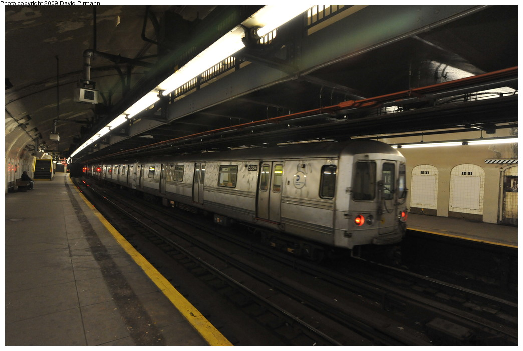 (216k, 1044x701)<br><b>Country:</b> United States<br><b>City:</b> New York<br><b>System:</b> New York City Transit<br><b>Line:</b> IND 8th Avenue Line<br><b>Location:</b> 181st Street <br><b>Route:</b> A<br><b>Car:</b> R-44 (St. Louis, 1971-73) 5384 <br><b>Photo by:</b> David Pirmann<br><b>Date:</b> 4/10/2009<br><b>Viewed (this week/total):</b> 2 / 1532