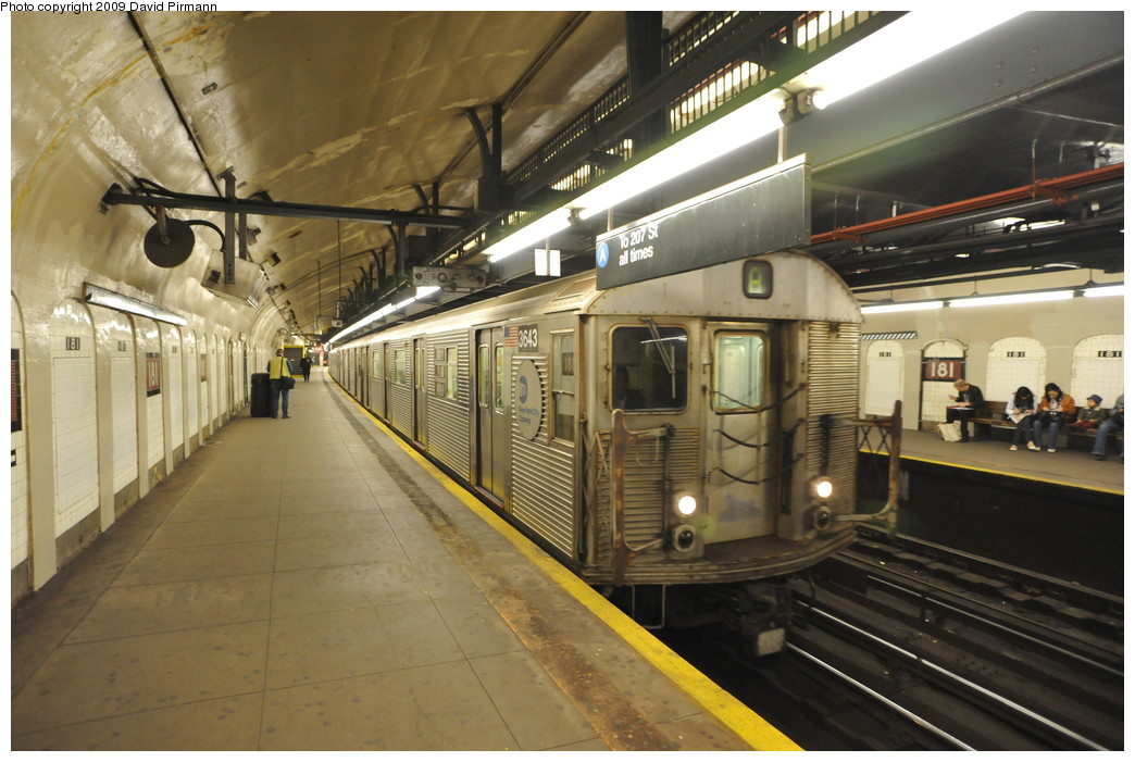 (258k, 1044x701)<br><b>Country:</b> United States<br><b>City:</b> New York<br><b>System:</b> New York City Transit<br><b>Line:</b> IND 8th Avenue Line<br><b>Location:</b> 181st Street <br><b>Route:</b> A<br><b>Car:</b> R-32 (Budd, 1964)  3643 <br><b>Photo by:</b> David Pirmann<br><b>Date:</b> 4/10/2009<br><b>Viewed (this week/total):</b> 0 / 1365