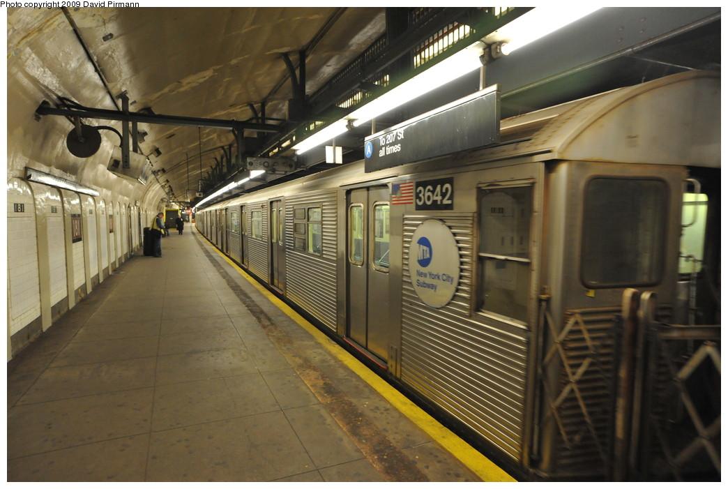 (252k, 1044x701)<br><b>Country:</b> United States<br><b>City:</b> New York<br><b>System:</b> New York City Transit<br><b>Line:</b> IND 8th Avenue Line<br><b>Location:</b> 181st Street <br><b>Route:</b> A<br><b>Car:</b> R-32 (Budd, 1964)  3642 <br><b>Photo by:</b> David Pirmann<br><b>Date:</b> 4/10/2009<br><b>Viewed (this week/total):</b> 2 / 1154