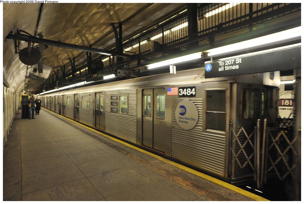 (258k, 1044x701)<br><b>Country:</b> United States<br><b>City:</b> New York<br><b>System:</b> New York City Transit<br><b>Line:</b> IND 8th Avenue Line<br><b>Location:</b> 181st Street <br><b>Route:</b> A<br><b>Car:</b> R-32 (Budd, 1964)  3484 <br><b>Photo by:</b> David Pirmann<br><b>Date:</b> 4/10/2009<br><b>Viewed (this week/total):</b> 1 / 1242