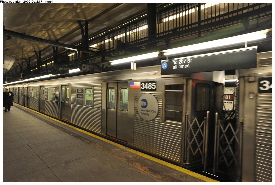 (267k, 1044x701)<br><b>Country:</b> United States<br><b>City:</b> New York<br><b>System:</b> New York City Transit<br><b>Line:</b> IND 8th Avenue Line<br><b>Location:</b> 181st Street <br><b>Route:</b> A<br><b>Car:</b> R-32 (Budd, 1964)  3485 <br><b>Photo by:</b> David Pirmann<br><b>Date:</b> 4/10/2009<br><b>Viewed (this week/total):</b> 0 / 1269