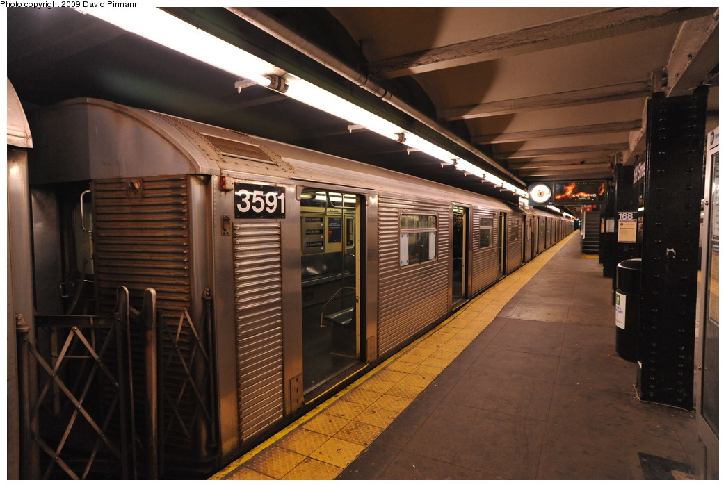 (256k, 1044x701)<br><b>Country:</b> United States<br><b>City:</b> New York<br><b>System:</b> New York City Transit<br><b>Line:</b> IND 8th Avenue Line<br><b>Location:</b> 168th Street <br><b>Route:</b> C<br><b>Car:</b> R-32 (Budd, 1964)  3591 <br><b>Photo by:</b> David Pirmann<br><b>Date:</b> 4/10/2009<br><b>Viewed (this week/total):</b> 0 / 898