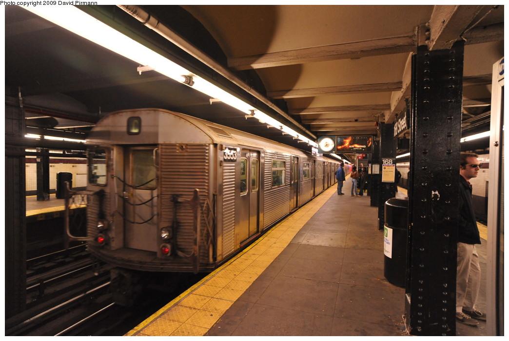 (254k, 1044x701)<br><b>Country:</b> United States<br><b>City:</b> New York<br><b>System:</b> New York City Transit<br><b>Line:</b> IND 8th Avenue Line<br><b>Location:</b> 168th Street <br><b>Route:</b> C<br><b>Car:</b> R-32 (Budd, 1964)  3553 <br><b>Photo by:</b> David Pirmann<br><b>Date:</b> 4/10/2009<br><b>Viewed (this week/total):</b> 1 / 1020