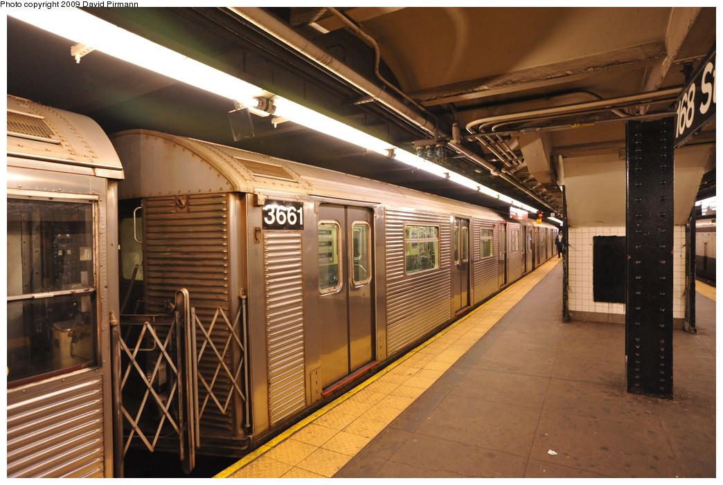 (281k, 1044x701)<br><b>Country:</b> United States<br><b>City:</b> New York<br><b>System:</b> New York City Transit<br><b>Line:</b> IND 8th Avenue Line<br><b>Location:</b> 168th Street <br><b>Route:</b> C<br><b>Car:</b> R-32 (Budd, 1964)  3661 <br><b>Photo by:</b> David Pirmann<br><b>Date:</b> 4/10/2009<br><b>Viewed (this week/total):</b> 0 / 1036
