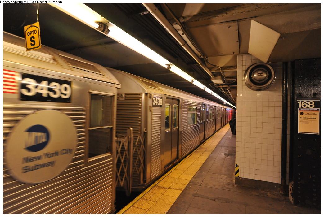 (275k, 1044x701)<br><b>Country:</b> United States<br><b>City:</b> New York<br><b>System:</b> New York City Transit<br><b>Line:</b> IND 8th Avenue Line<br><b>Location:</b> 168th Street <br><b>Route:</b> C<br><b>Car:</b> R-32 (Budd, 1964)  3438 <br><b>Photo by:</b> David Pirmann<br><b>Date:</b> 4/10/2009<br><b>Viewed (this week/total):</b> 0 / 1104