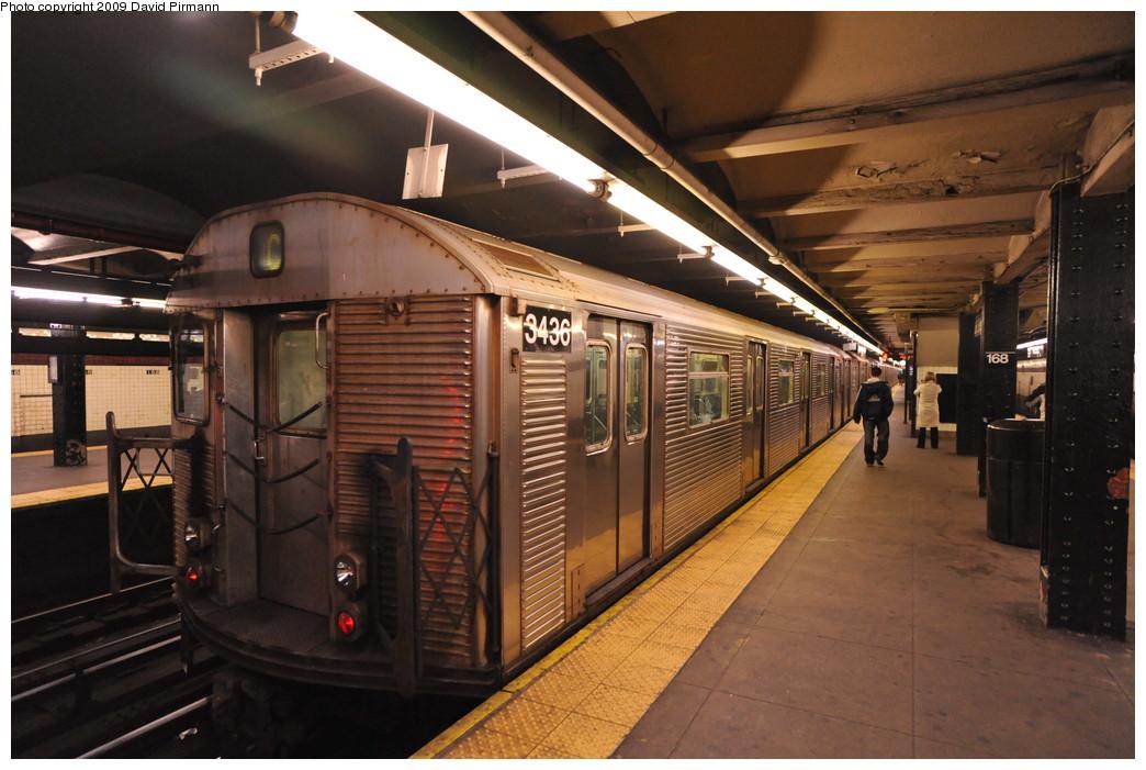 (257k, 1044x701)<br><b>Country:</b> United States<br><b>City:</b> New York<br><b>System:</b> New York City Transit<br><b>Line:</b> IND 8th Avenue Line<br><b>Location:</b> 168th Street <br><b>Route:</b> C<br><b>Car:</b> R-32 (Budd, 1964)  3436 <br><b>Photo by:</b> David Pirmann<br><b>Date:</b> 4/10/2009<br><b>Viewed (this week/total):</b> 0 / 1134