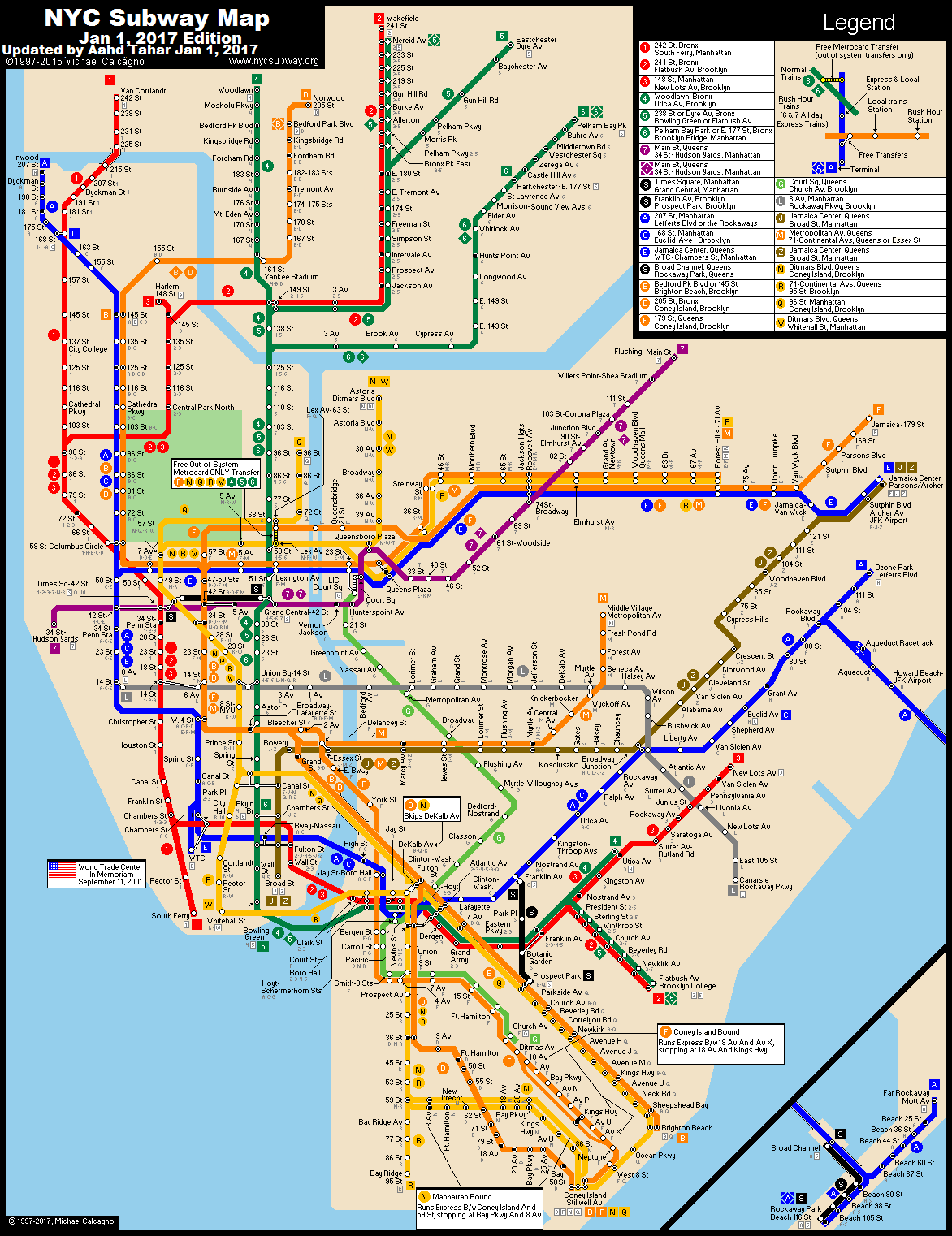 Ny City Subway Map .nycsubway.org: New York City Subway Route Map by Michael Calcagno Ny City Subway Map