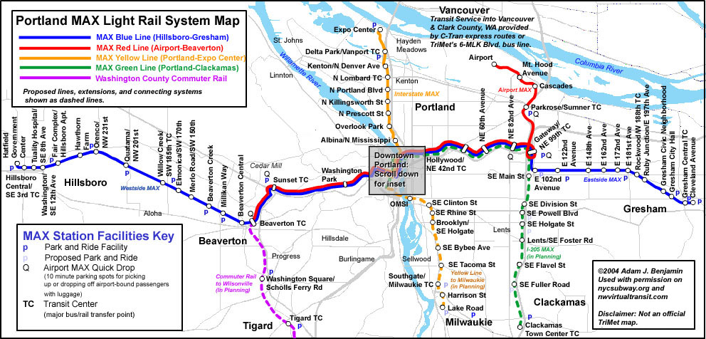 worldnycsubwayorg Portland MAX Route Map