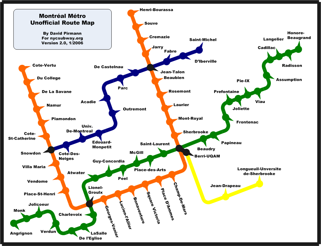 Montreal Subway System Map.Nycsubway Org Montreal Metro Route Map