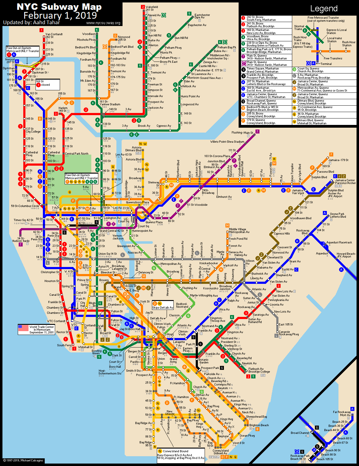 Subway Map In Manhatten.Www Nycsubway Org New York City Subway Route Map By Michael Calcagno