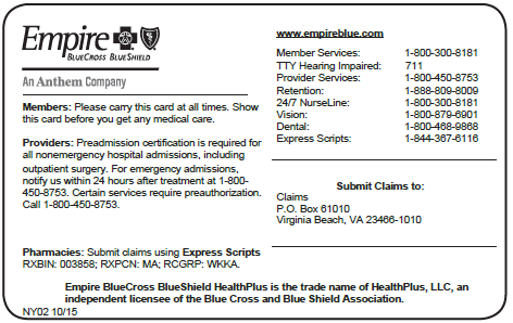Results for Empire Blue Cross Blue Shield Bin Pcn