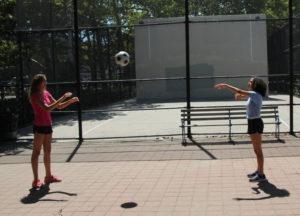 Amanda and Katherine Playing Catch 2