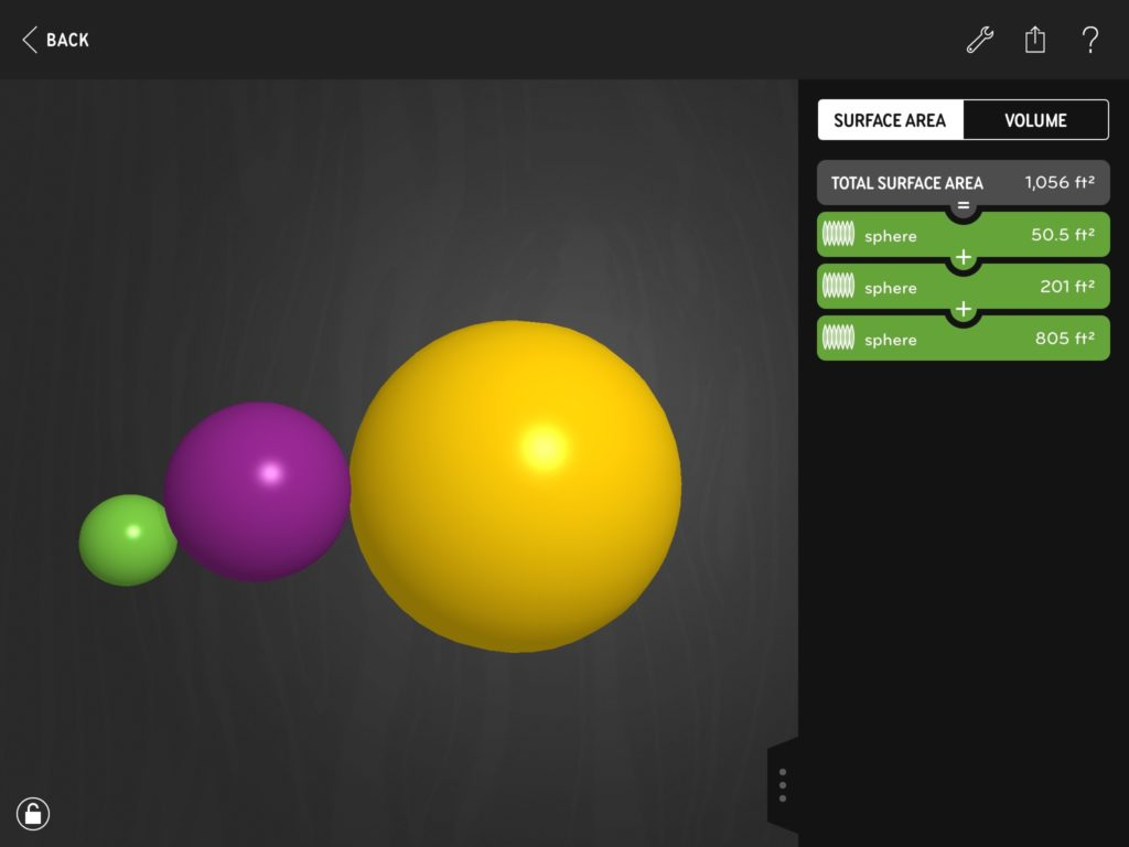 Three spheres in Volumize with radii ratios of 2:4:8.