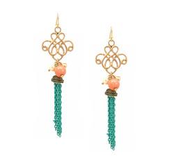 Turquoise tassel earrings  88971