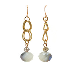 Grey bead drop earrings  71619