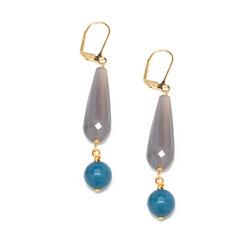 Blue gray teardrop earrings  80569