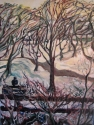 The actual color scheme was very monochromatic that day with a spectrum of greys and browns. The colors I chose were the subtle hues picked up in the snow and fog in the air that day. (thumbnail)