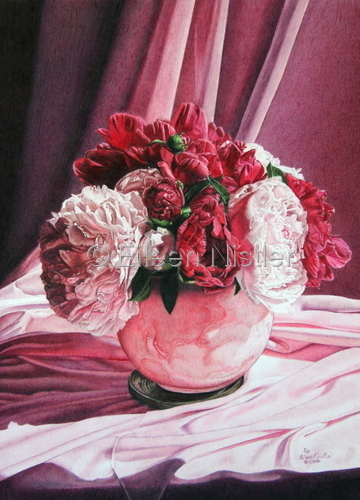 Drawing-Still Life-Peonies Inspired by Martha