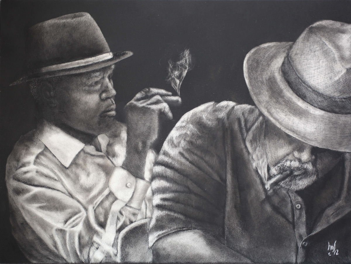 "Contemporary Painting - ""Cigar Smokers (Donated ..."