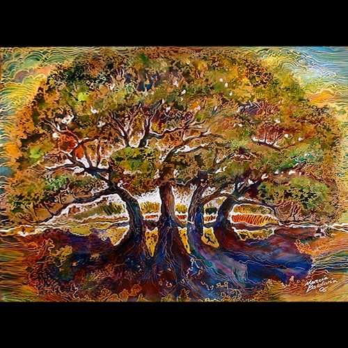 Painting--Watercolor-LandscapeTREE OF LIFE BATIK