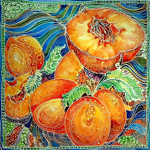 Painting--Watercolor-Still LifePEACHES BATIK I