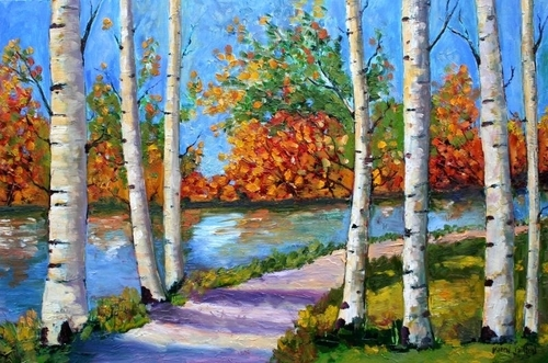 Oil Paintings of Fall Trees Painting-oil-birch Tree Fall