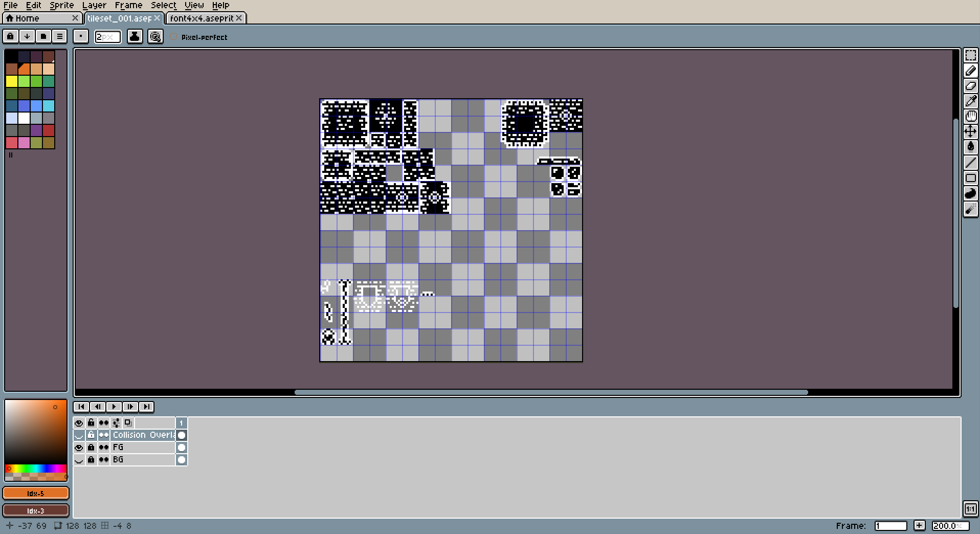 Black and white tileset. Still very much a work in progress, but the stuff in the upper left corner is pretty much locked in.