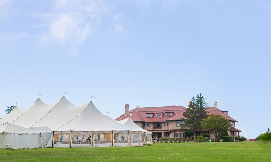 Wedding tent on front lawn of Mansion