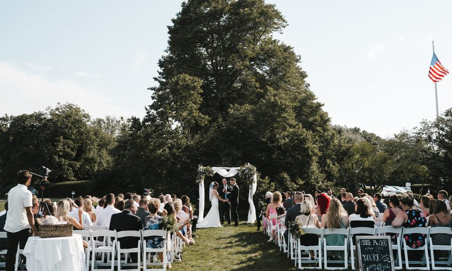 Wedding ceremony on front lawn