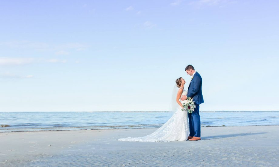 Bride and groom on Cape Cod beach